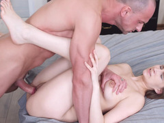 Bald pal joins in time his horny girlfriend