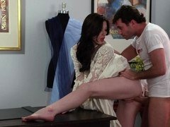 Brunette bride's holes get penetrated by handy couturier's cock