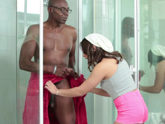 Black guy is in the shower with a young whore, fucking her in the face
