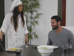 Handsome man has an affair with his hot cook