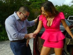A kinky honey pleases her lover in his living room with her body
