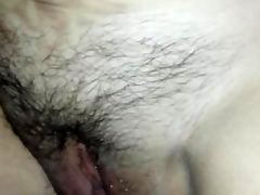 Letting him Cum on my Hairy Pussy