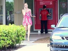 Busty blonde without money paid for sex in public
