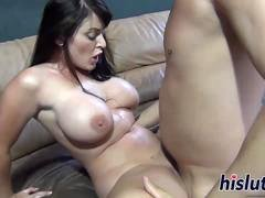 Busty looker squirts while being banged