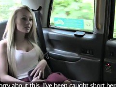 Blonde Brit gives rimjob and fuck in fake cab