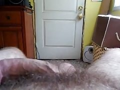 Thick small penis pre cum play on bed