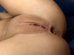 A bimbo with a natural body is getting fucked hard in her hot ass