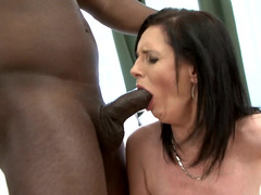 Cougar takes black cock up the ass like a wild slut