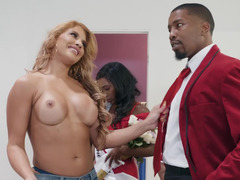 Latina stepmom and her black stepdaughter share a dick