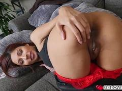 Jade Janzten tight anal ride on top of step bro