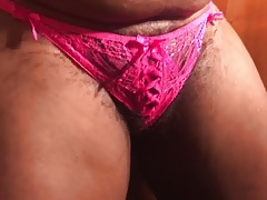 Pink panty hairy pussy