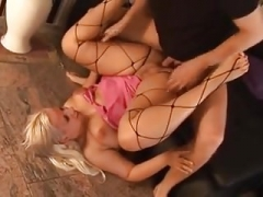Slightly fat blonde fisted then fucked
