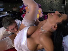 A how woman in a wedding gown gets a dick inside her snatch