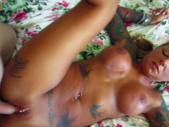 Astonishing blonde with piercing and tattoos is getting banged