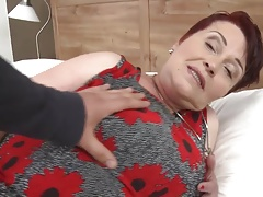 Hairy busty granny gets wild sex with son