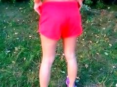 Ksenia drops her pants, shows her beautiful ass and pussy. walking barefoot