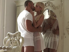 Beautiful blonde babe and her lover had a blast filming this one