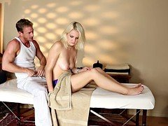 Lovely babe banged on the massage table