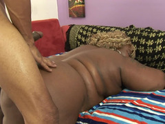 Jiggling tits and belly on a black BBW taking hard dick