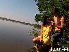 Young Naturist Couple Having Sex by the River