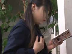 Censored Slurps Japanese student nailed while reading