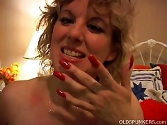 Spunky older blonde is a super hot fuck and loves facials