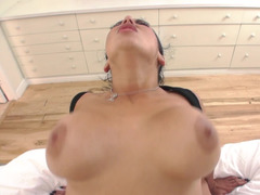 Lubed ass of a slutty Latina girl stretched by cock