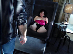 A raven haired granny slut is getting a dick in her cunt