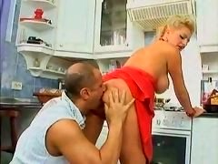 blonde slutty eager mom fucked in the kitchen