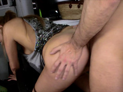 Gal with natural tits gets fucked wildly in the kitchen