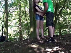 skinny teen young in forest 19yo