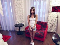 Skinny small Russian teen casting interview in Budapest!