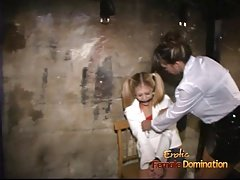 Gorgeous blonde sweetie gets nailed hard with a massive stra