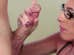 A sexy stepmom undresses and then she gets a large cock in her