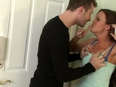 Adorable teenage darling gets her tight pussy rammed by a stud