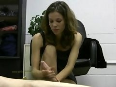 Hot female boss jerks off her lazy employee