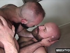 Hairy bear bareback and cumshot