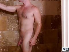 Soccer stud screwed under the shower after fellatio