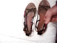 Cum in my wife's sandals