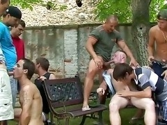 Sexy jocks at party desirous to suck and get down and dirty