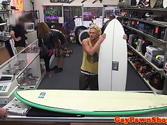 Straight surfer pawing his tight ass for cash