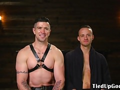 Caged ripped sub freed for whipping by dom