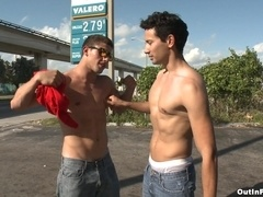 Gabriel Dalessandro and Jimmy Coxxx make gay love in cowboy pose
