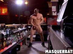Big cocked muscular hunk bartender wanking off hard