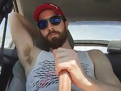 Naked wank in car with a buddy