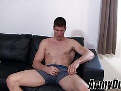 Big guy Jake masturbates his hard dick