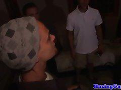 Blindfolded pledger assfucked in dark room
