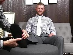 Business men Sean Holmes and Justin Case feet worship time