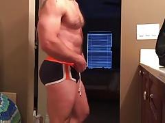 Silverdaddy wanks and cum in his bathroom