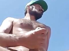 He wanks naked Outdoors